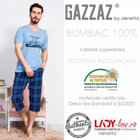 Pijama Barbati Gazzaz by Vienetta, 'Truck Association' Blue