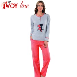 Poze Pijama Dama Bumbac Interlock, 'Cats In Love', Fawn