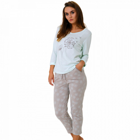 Pijama Dama Bumbac, M-Max, 'Dreams Of Nature' Light Mint