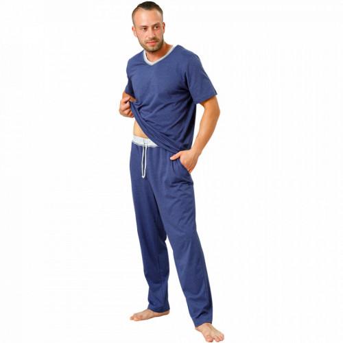 Pijamale Barbati M-Max, Bumbac 100%, 'Confortable in Blue'