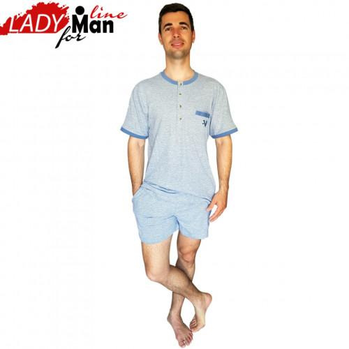 Pijamale Barbati Maneca Scurta Pantalon Scurt, Material Bumbac 100%, Culoare Gri, Model 'Short Deep Gray', Brand Contro Senso, Pijamale Barbatesti Import Italia