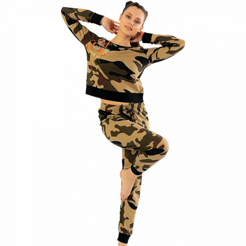 Pijamale Confortabile Dama Vienetta Model 'College Camouflage' Culoare Camuflaj
