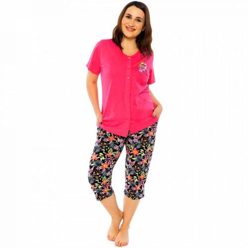 Pijamale cu Nasturi din BUmbac Marimi Mari Vienetta Model 'By Happy'
