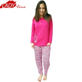 Pijamale Dama Groasa, Model Land Of Butterfly, Producator Lindros Collection, Bumbac 100%, Culoare Fuchsia
