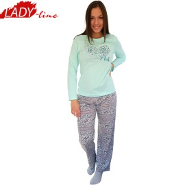 Poze Pijamale Dama Maneca Lunga, Model Life Is Lovely, Producator Benter Fashion Wear, Bumbac 100%, Culoare Vernil