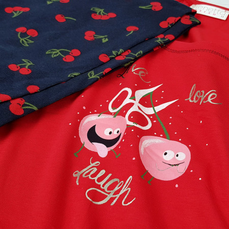 Pijamale Vienetta Dama, 'Live Love Laugh'' Red