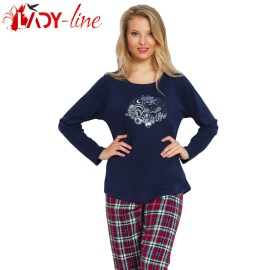 Poze Pijamale Vienetta Secret, Bumbac 100% Interlock, 'Silent Night' Blue