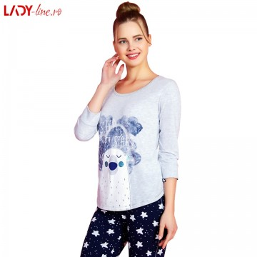 Poze Pijamale Vienetta Secret, Bumbac 100%, 'Sleep With Stars'