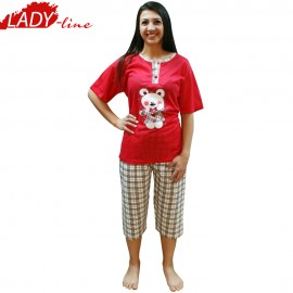 Poze Baby Bear Red, Pijamale Dama Vara, FV Fashion Collection, Bumbac 100%, Culoare Verde