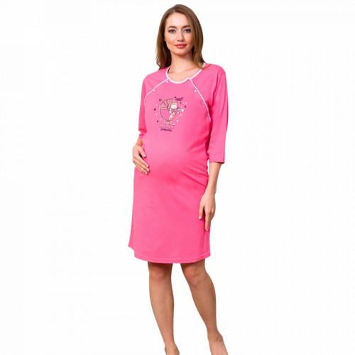 Camasa pentru Gravide si Alaptat din Bumbac Vienetta 'New Home, New Adventure' Pink