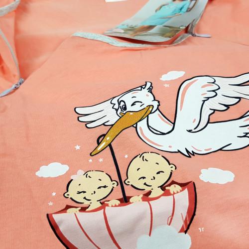 Camasa pentru Gravide si Alaptat din Bumbac Vienetta 'Welcome' Pink