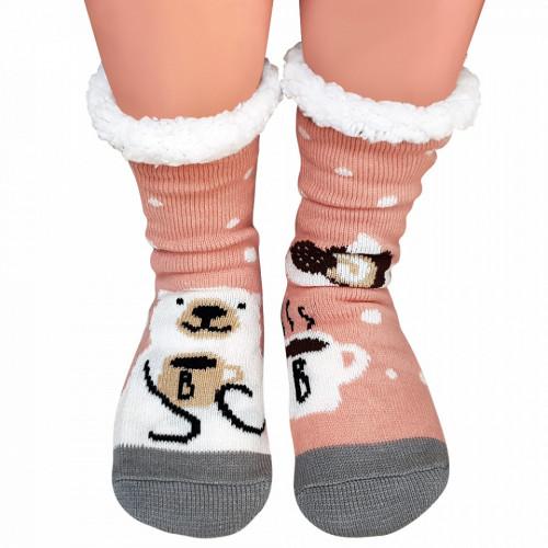 Ciorapi Imblaniti si Caldurosi Lady-Line Model 'Winter Hibernation' Pink