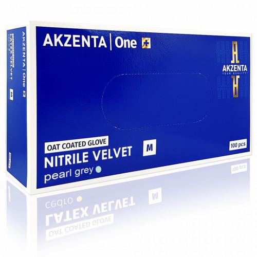 Manusi Examinare Nitrile Velvet Oat Coated Pearl Grey Akzenta One Plus 100 Buc