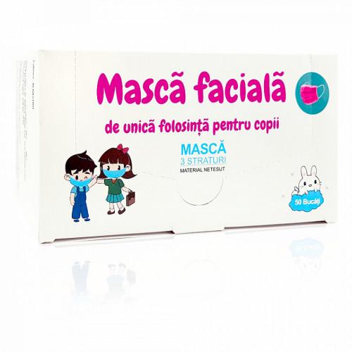 Masca Faciala cu 3 Straturi pentru Copii Flippy Culoare Roz Cutie 50 Bucati