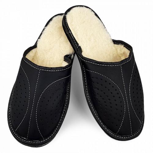 Papuci de Casa din Piele si Lana de Oaie Culoare Negru Model 'Back to Black'