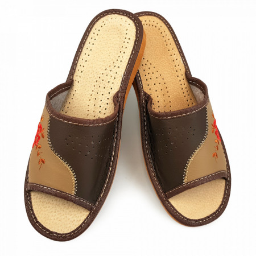 Papuci de Casa Vara din Piele Culoare Maro Model 'Edelweiss'