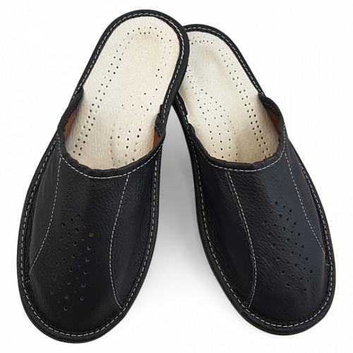 Papuci de Casa Vara din Piele Culoare Negru Model 'Back to Black'