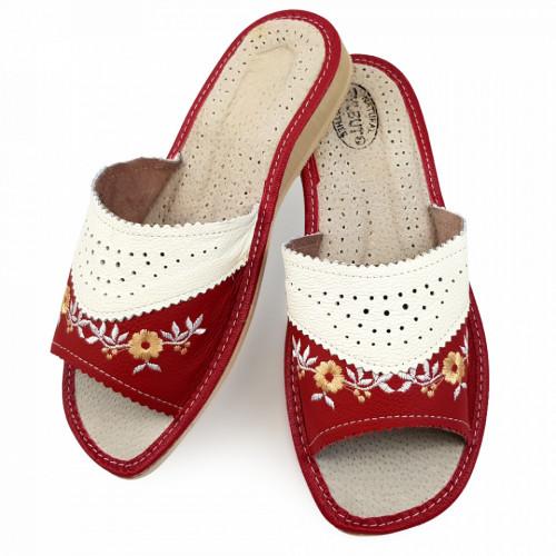 Papuci de Casa Vara din Piele Culoare Rosu Visiniu Model 'Red Enda'