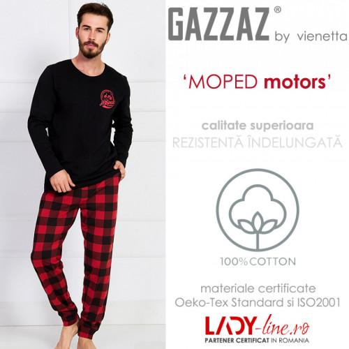 Pijama Barbati Gazzaz by Vienetta, 'Moped Motors' Black