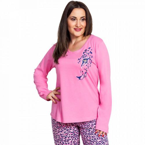 Pijama Dama Marimi Mari Vienetta, Bumbac 100%, 'Feline in Pink'