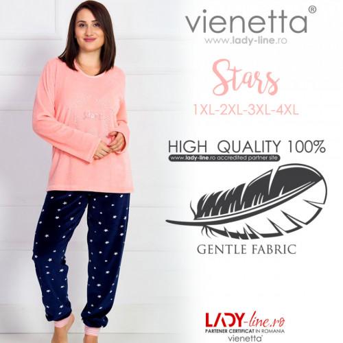 Pijama Dama Soft Velur Vienetta Model 'Stars' Orange