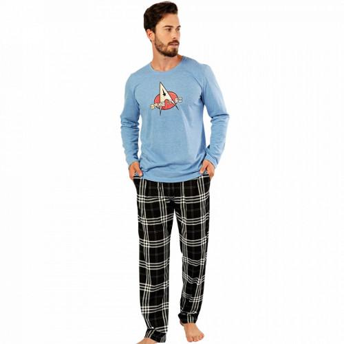 Pijamale Barbati Confortabile Gazzaz by Vienetta Model 'Make It So' Blue