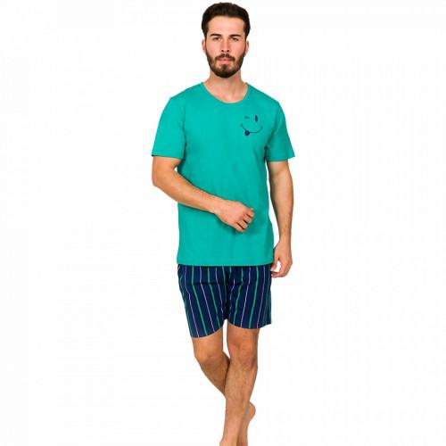 Pijamale Barbati din Bumbac 100% Gazzaz by Vienetta Model 'Smile & Wink' Green