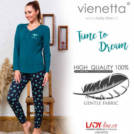 Pijamale Dama din Bumbac Vienetta Model 'Time to Dream'