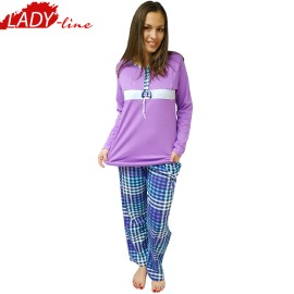 Poze Pijamale Dama Groasa, Model Beauty Lilac, Producator Baki Collection, Bumbac 100%, Culoare Mov Liliac