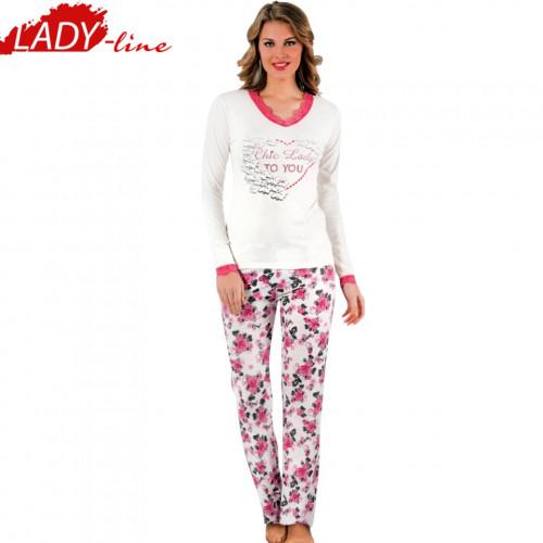 Pijamale Dama Maneca Lunga, Model Chic Lady To You, Producator Ipektem.im, Bumbac 90%, Culoare Alb, Pijamale Dama Maneca si Pantalon Lung