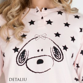 Poze Pijamale Dama Maneca Lunga, Model La Stars & Puppies, Brand Italian Fashion Design, Material Bumbac 100% Interlock, Culoare Roz, Pijamale Dama Calitate 100%