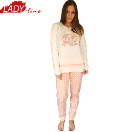 Poze Pijamale Dama Maneca Lunga, Model La Vie en Rose, Brand Italian Fashion Design, Material Bumbac 100% Interlock, Culoare Roz, Pijamale Dama Calitate 100%