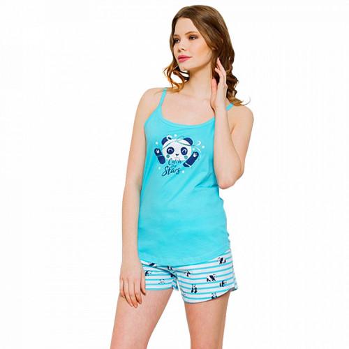 Pijamale Dama Vienetta, 'Catch the Stars' Culoare Albastru