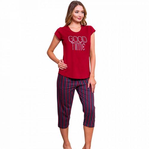 Pijamale Dama Vienetta din Bumbac cu Pantalon 3/4 Model 'Good Time'