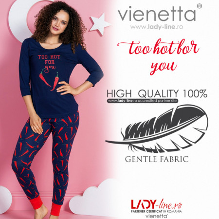 Pijamale Dama Vienetta Dream, 'Too Hot for You' Blue