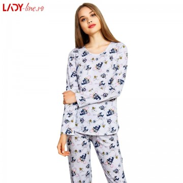 Poze Pijamale Vienetta Secret Bumbac 100%, 'Cute and Funny' Gray
