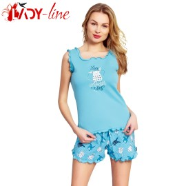 Poze Pijamale Vienetta Secret, Bumbac 100%, 'Love Always Wins' Turquoise