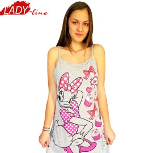 Camasa De Noapte Cu Bretele, Model Dessie I Love U, Producator Disney, Bumbac 92%, Culoare Gri, Camasi De Noapte Desene Animate