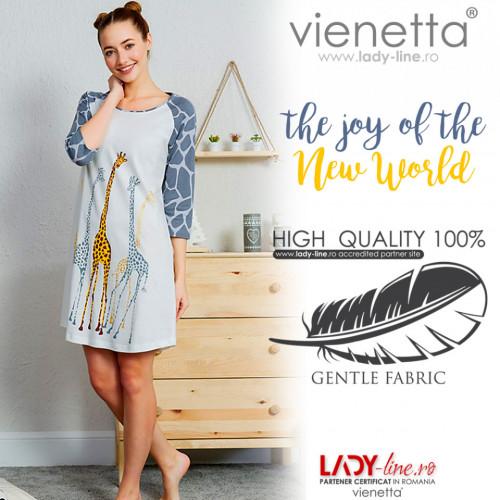 Camasa de Noapte Vienetta din Bumbac, Model 'The Joy of the New World'