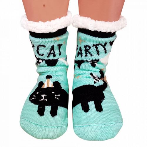 Ciorapi Imblaniti si Caldurosi Lady-Line Model 'Cat Party' Green