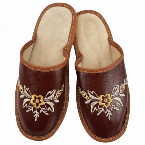 Papuci de Casa Dama, Material Piele, Culoare Maro, Model 'Brown Boost'