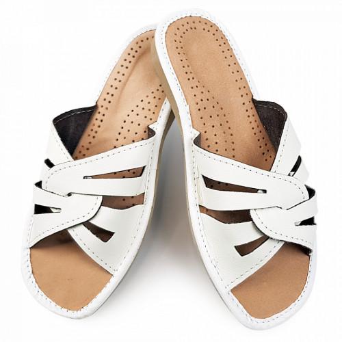 Papuci de Casa Vara din Piele Culoare Alb Model 'Atilius'