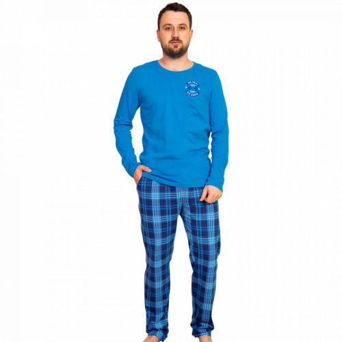 Pijama Barbati Gazzaz by Vienetta, 'No Pain - No Pizza' Blue