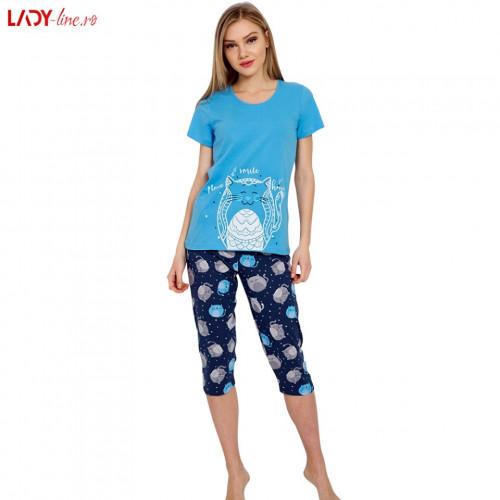 Pijama Dama Good Look, Bumbac 100%, 'Smile Please' Blue