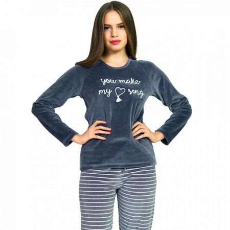 Pijama Dama Soft Velur Vienetta Model 'You Make My Heart Sing' Gray