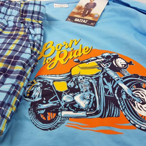 Pijamale Barbati Bumbac 100% Gazzaz by Vienetta 'Born to Ride' Blue