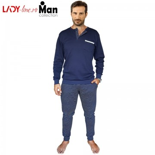 Pijamale Barbati Bumbac Interlock, Brand Snelly L'Originale, 'Ocean & Earth' Blue