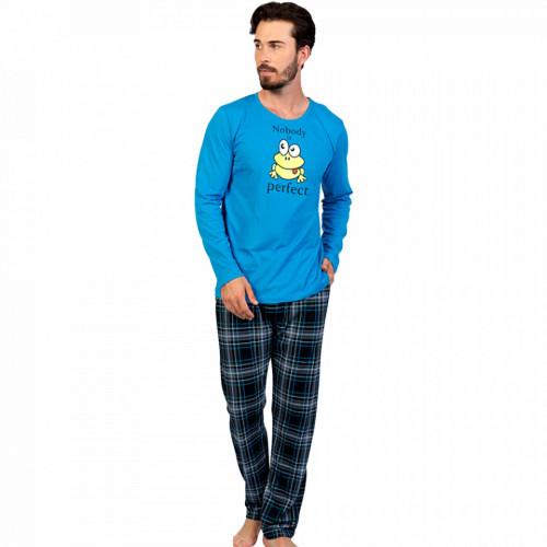 Pijamale Barbati Confortabile din Bumbac Gazzaz by Vienetta Model 'Nobody is Perfect' Blue