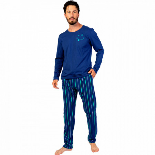Pijamale Barbati din Bumbac 100% Gazzaz by Vienetta Model 'Happy Life' Blue