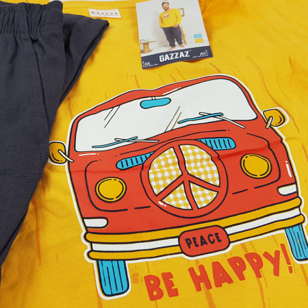 Pijamale Barbati din Bumbac Gazzaz by Vienetta 'Peace - Be Happy' Yellow